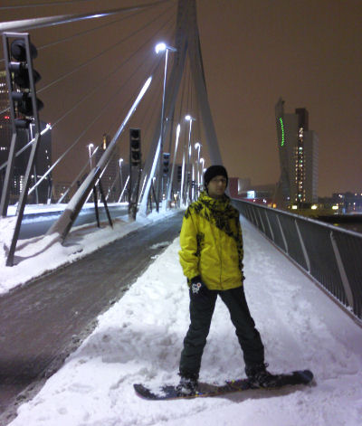 Me strapped into my snowboard on the Erasmusbrug, Rotterdam